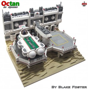 Octan in Space features brick-buiilt tan landscaping reminiscent of the box-art on classic space sets.